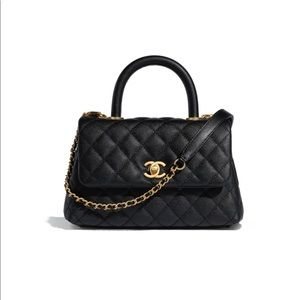😍 19P Chanel COCO FLAPBAG WITH HANDLE in Black